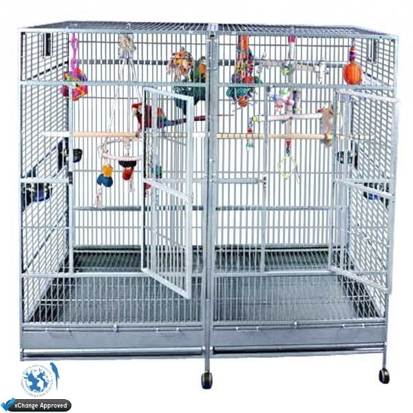 A Amp E Stainless Steel Monumental Double Bird Cage